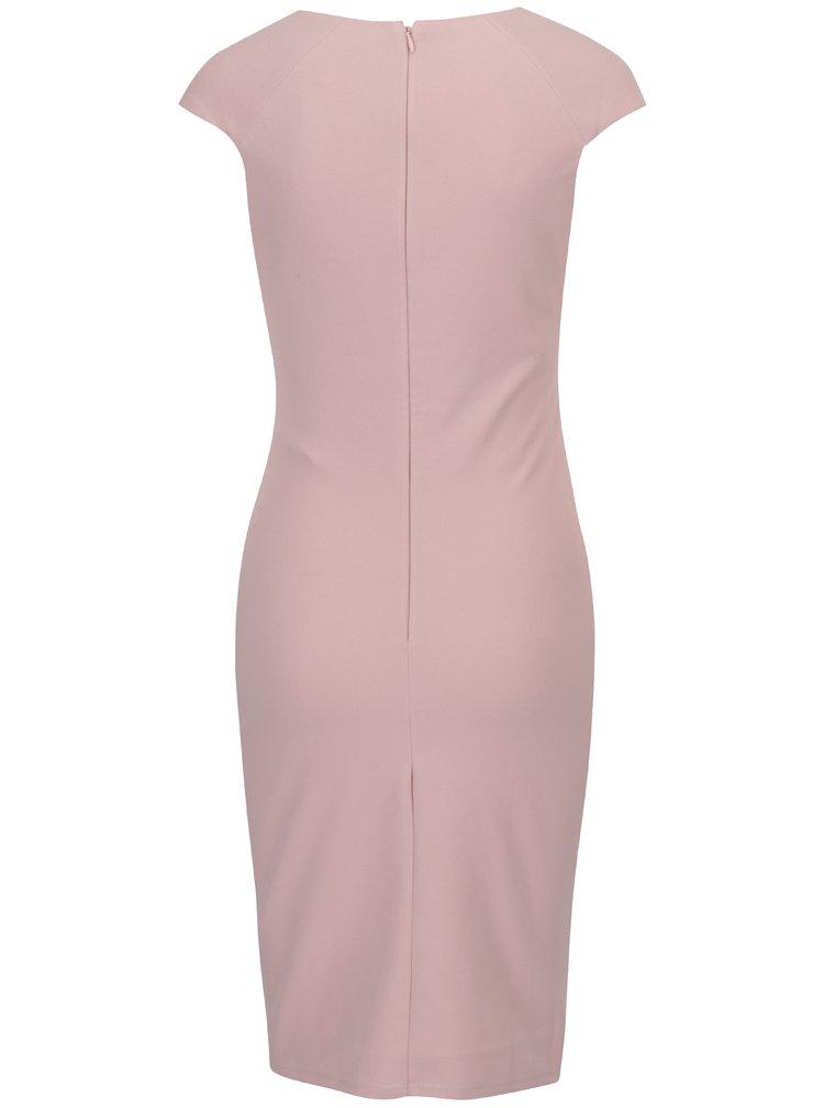 Světle růžové pouzdrové šaty s překládaným výstřihem ZOOT