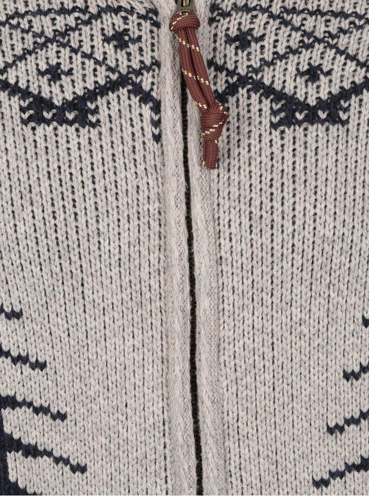 Béžový vzorovaný kardigan s příměsí vlny Jack & Jones Vintage Henderson