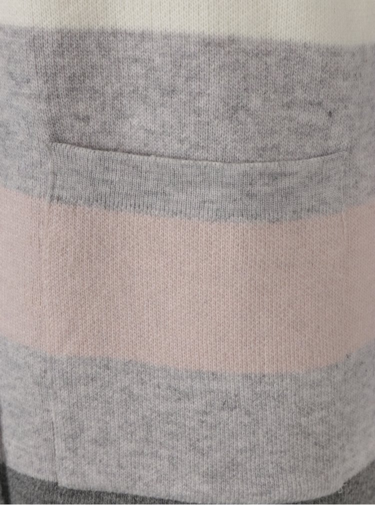 Růžovo-šedý dámský pruhovaný kardigan Broadway Leota