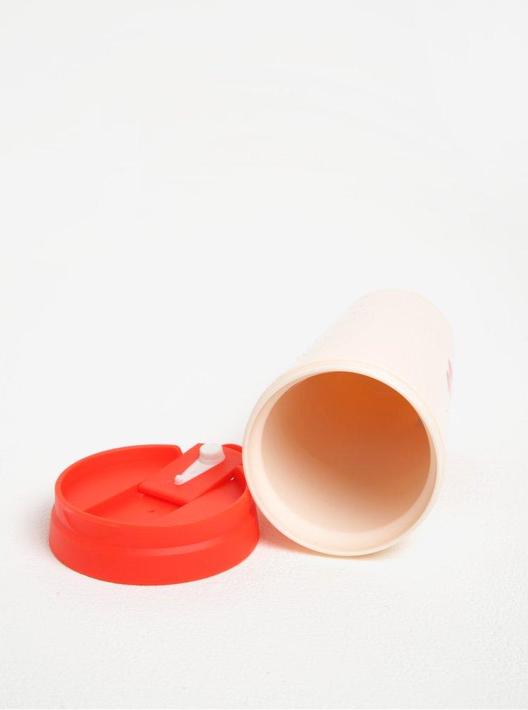 Červeno-růžový termohrnek s potiskem ban.dō 470 ml