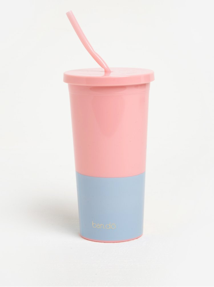 Modro-růžový cestovní hrnek s brčkem ban.do Happy hour 590 ml