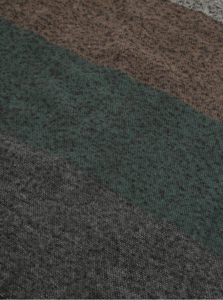 Zeleno-šedá žíhaná šála s třásněmi Pieces Anne