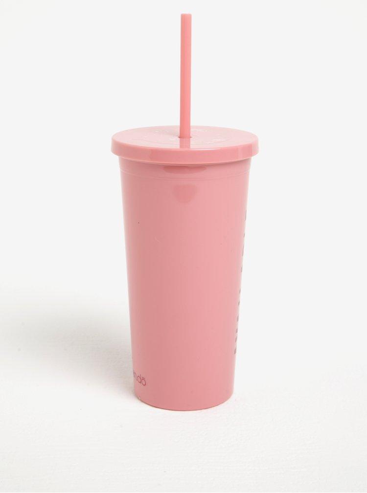 Růžový cestovní hrnek s brčkem ban.do Available for weekends