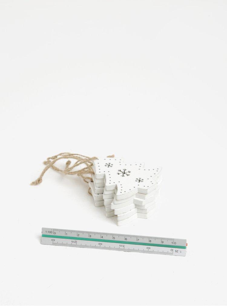 Súprava šiestich kusov drevenej závesnej dekorácie v tvare stromčekov v bielej farbe Dakls
