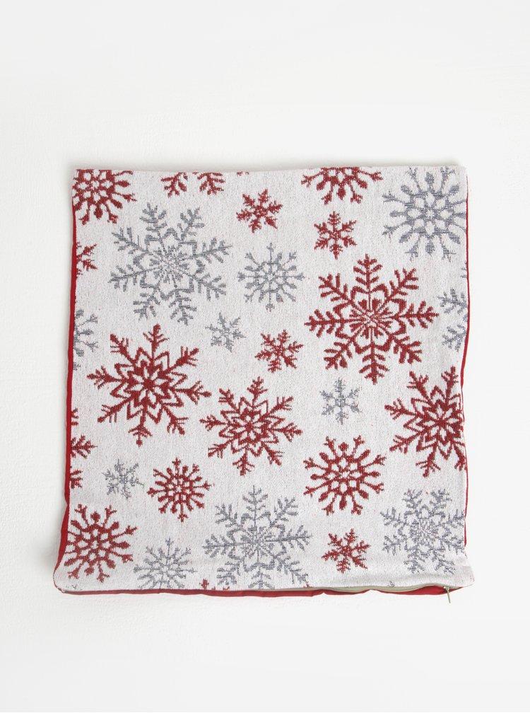 Červeno-biela obliečka na vankúš s motívom vločiek Dakls