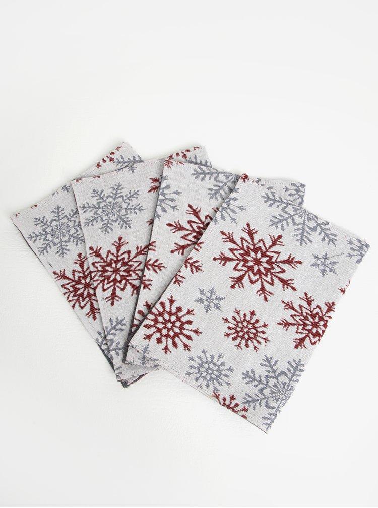 Súprava štyroch prestieraní s motívom vločiek v bielo-červenej farbe Dakls