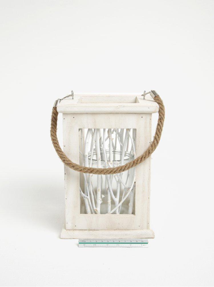 Biely drevený závesný lampáš Dakls