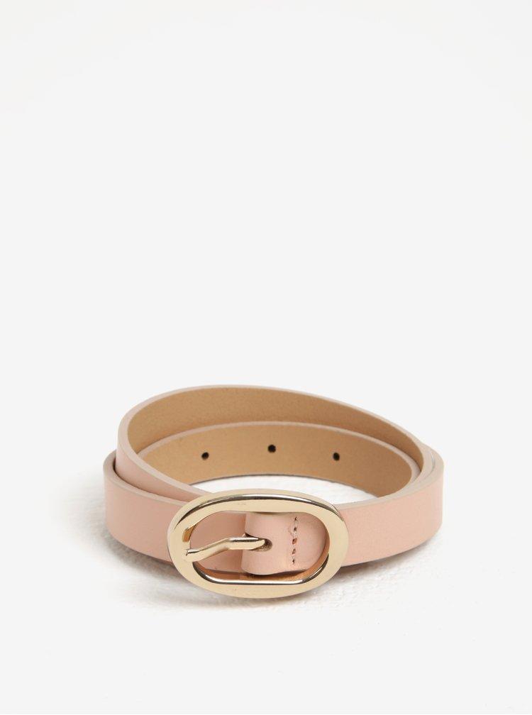 Růžový kožený pásek s oválnou sponou Pieces Ana