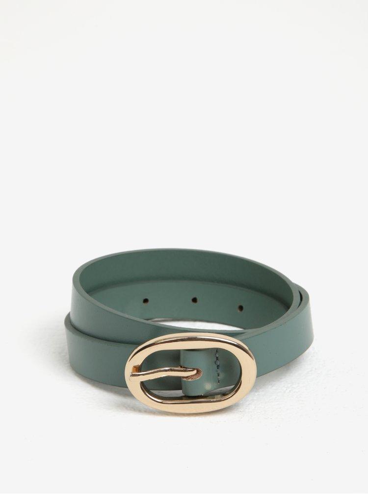 Curea verde cu catarama ovala din piele de bovina Pieces Ana