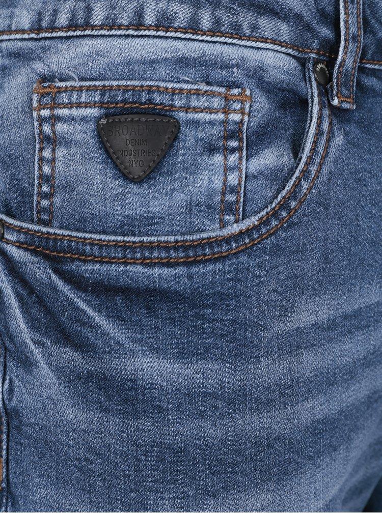 Modré pánské slim džíny s vyšisovaným efektem Broadway Ryan