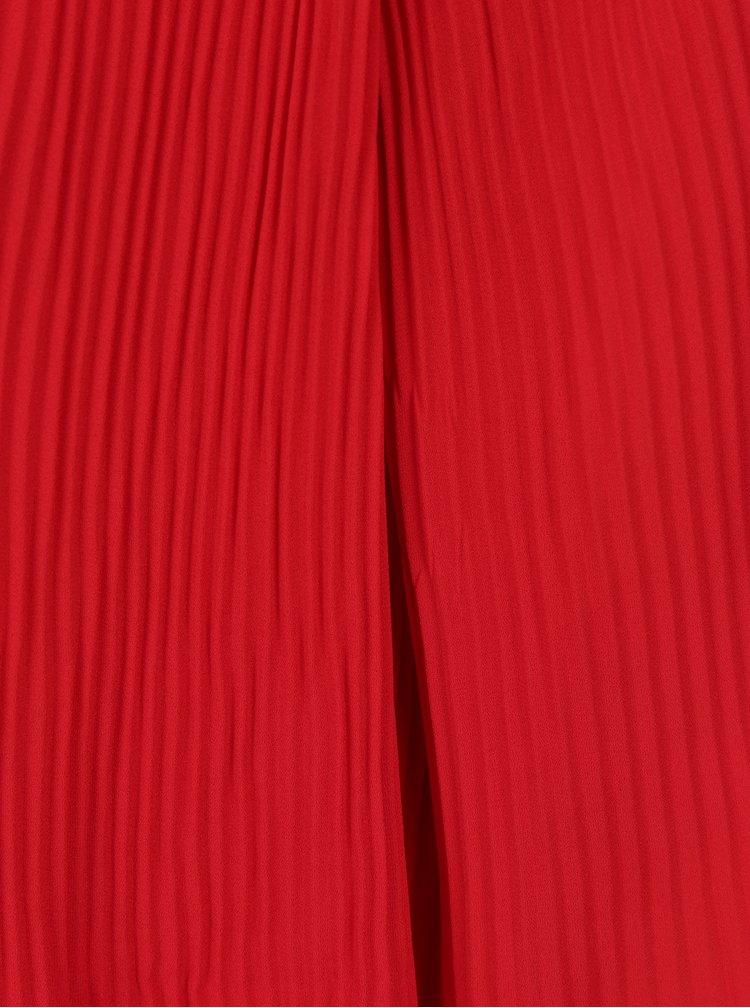 Červené žebrované šaty s dlouhým zvonovým rukávem Broadway Sophina