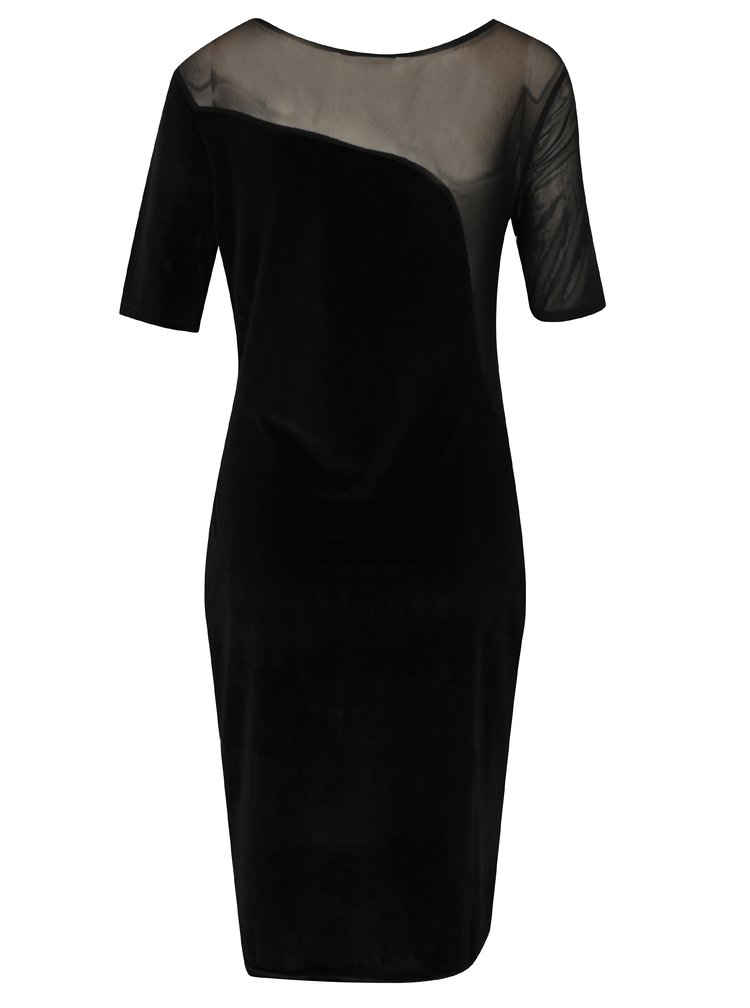 Černé sametové šaty s průsvitnou částí Broadway Shae