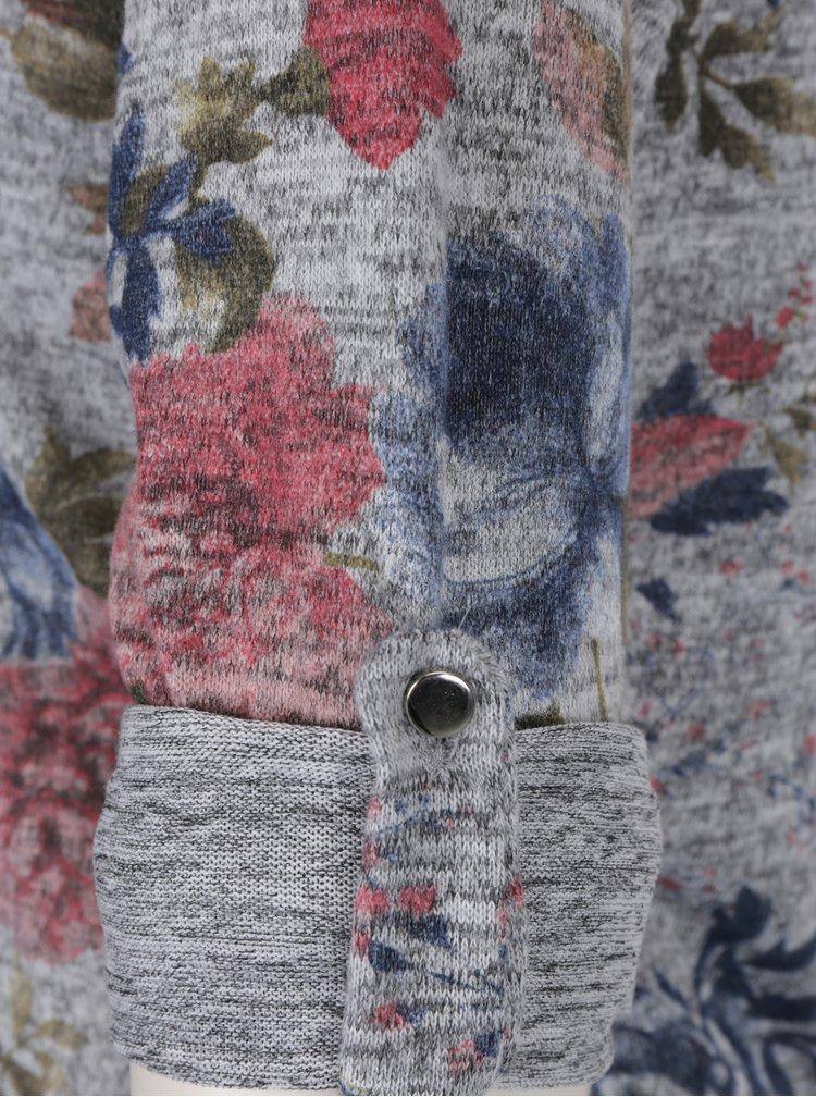 Hanorac gri cu gluga si print floral - Haily´s Stara I.