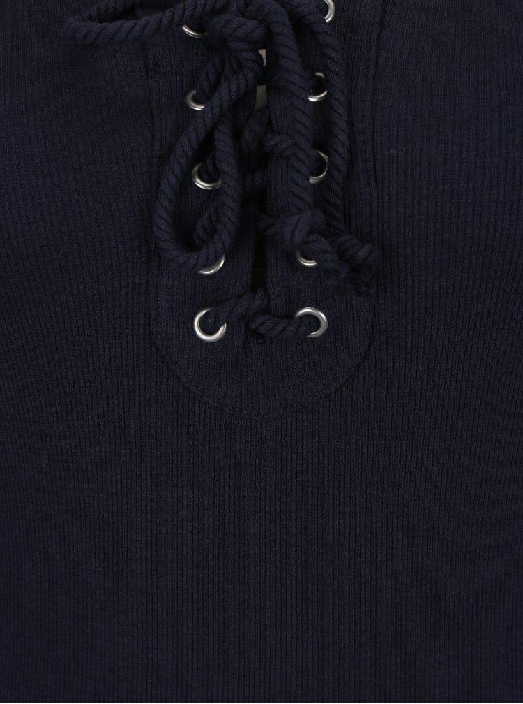 Bluza reiata bleumarin cu snur si decolteu rotund - Haily's Britta