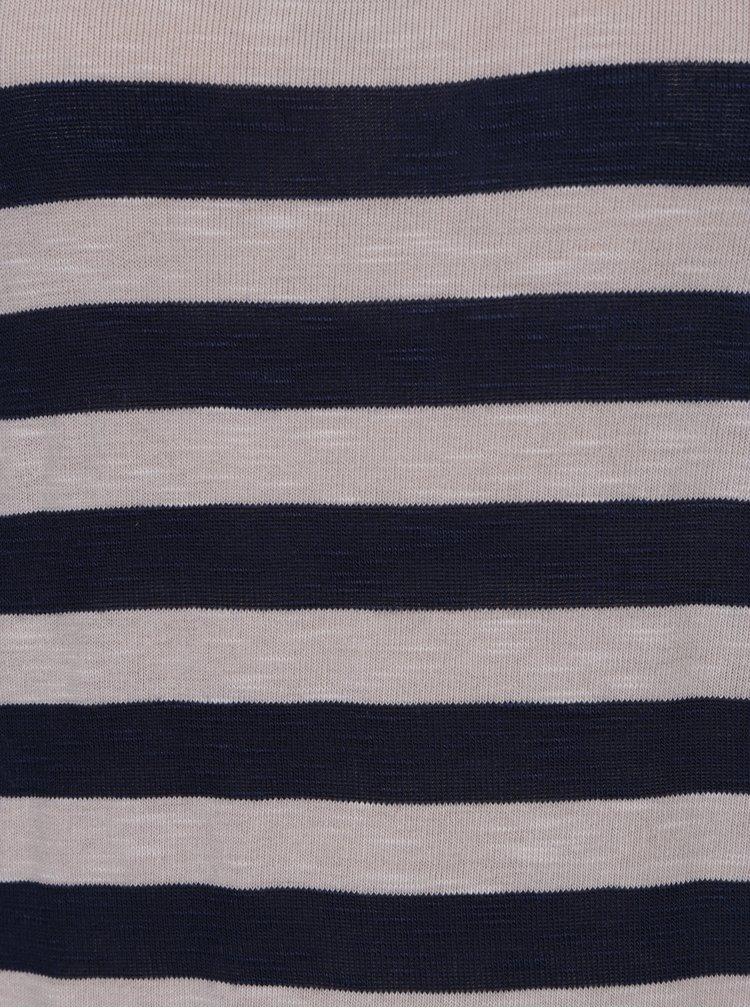 Bluza cu dungi crem & bleumarin si nasturi pe spate - Haily's Tamara