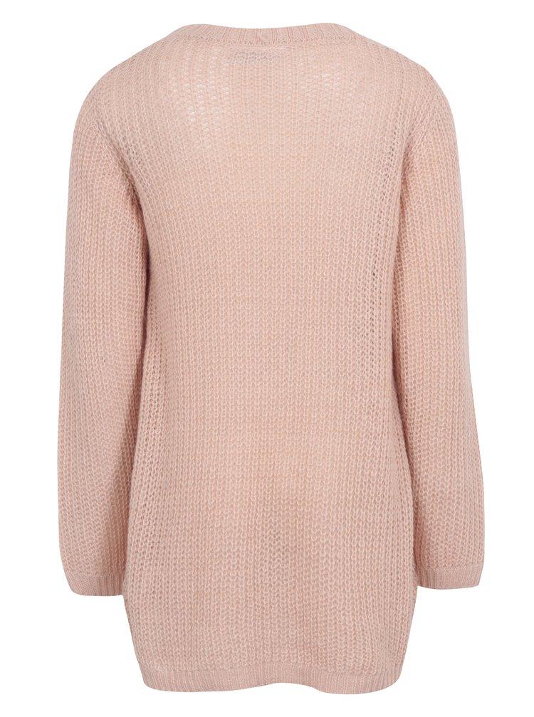 Růžový holčičí překládaný svetr name it Imdia