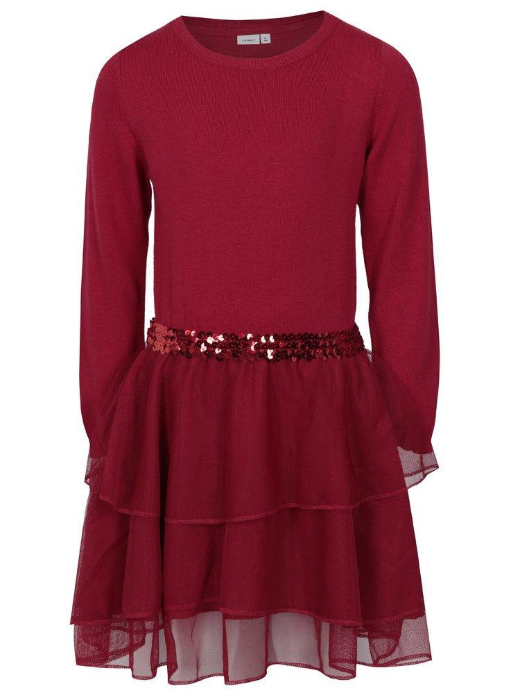 Červené holčičí svetrové šaty s tylovou sukní name it Palukka
