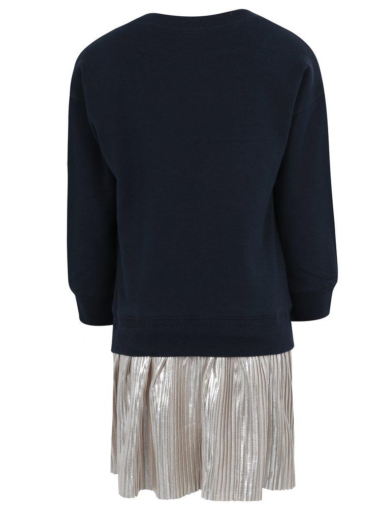 Tmavě modré holčičí mikinové šaty s plisovanou sukní name it Sally