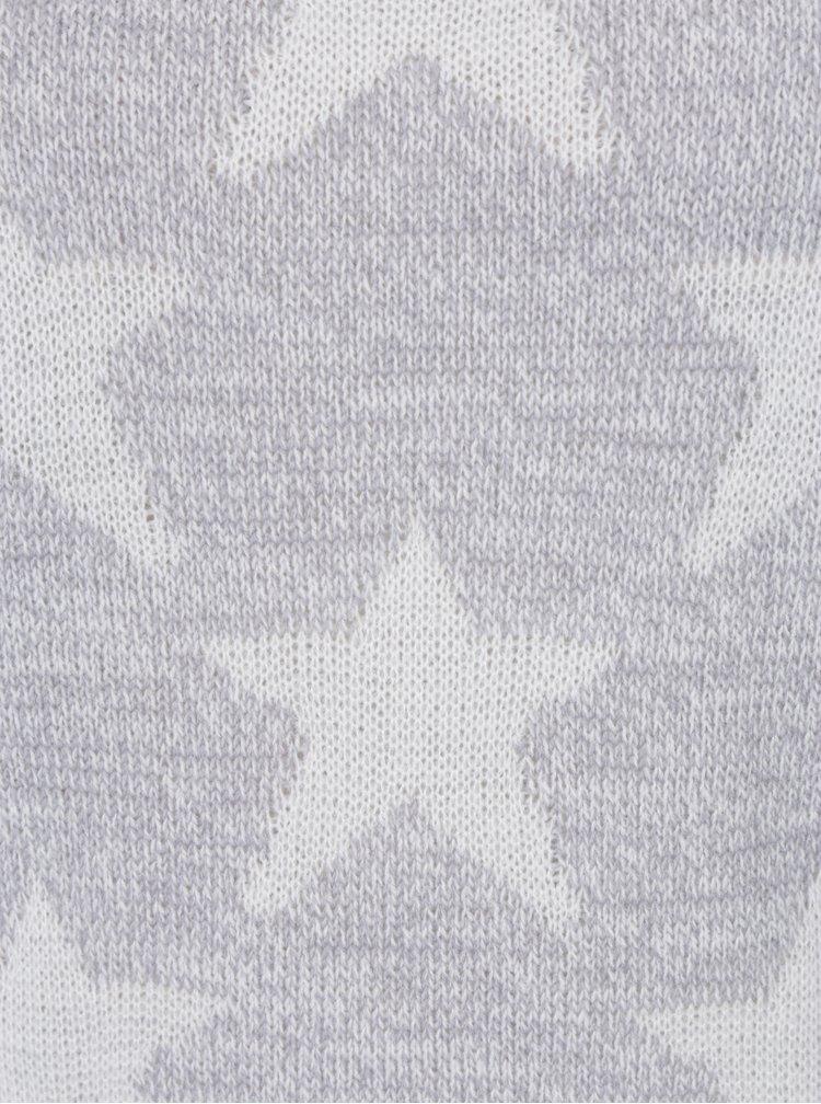 Světle šedý svetr s motivem hvězd Haily´s Star