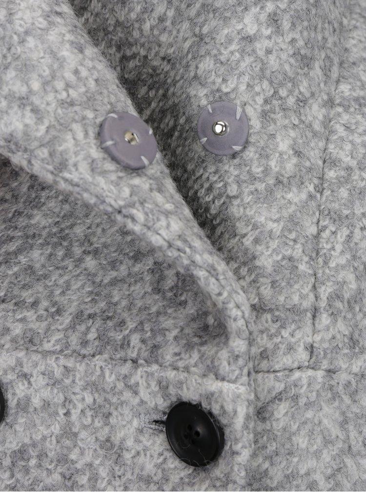 Světle šedý krátký žíhaný kabát s příměsí vlny Haily´s Sina