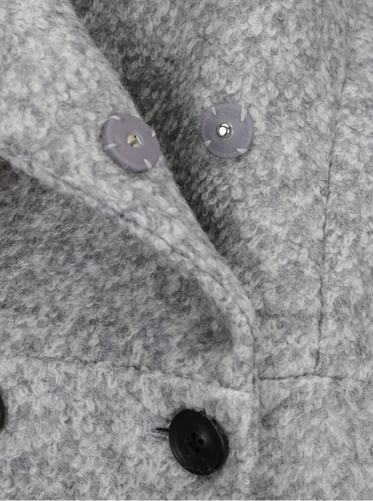 Palton gri deschis din stofa boucle cu guler inalt - Haily's Sina