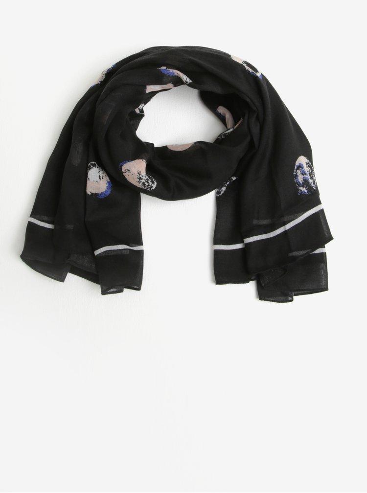 Esarfa patrata neagra cu print buline Pieces Amisty