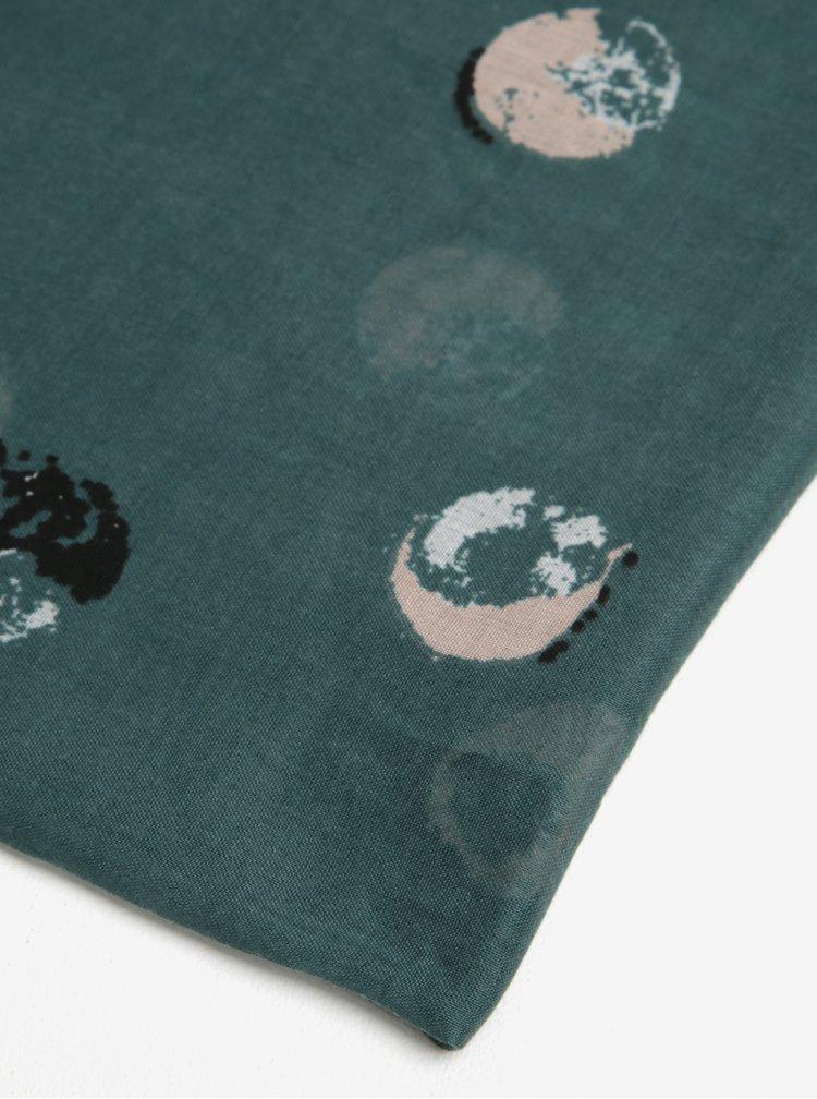 Esarfa patrata verde cu print buline Pieces Amisty