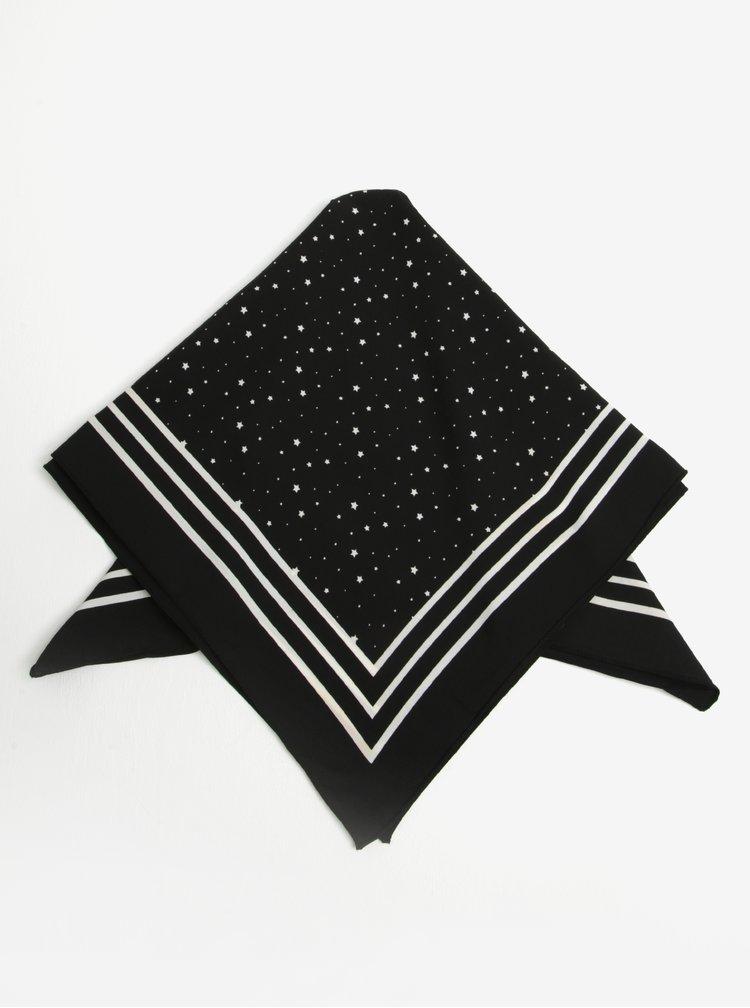 Esarfa negru&alb cu motiv stele  Pieces Rachel