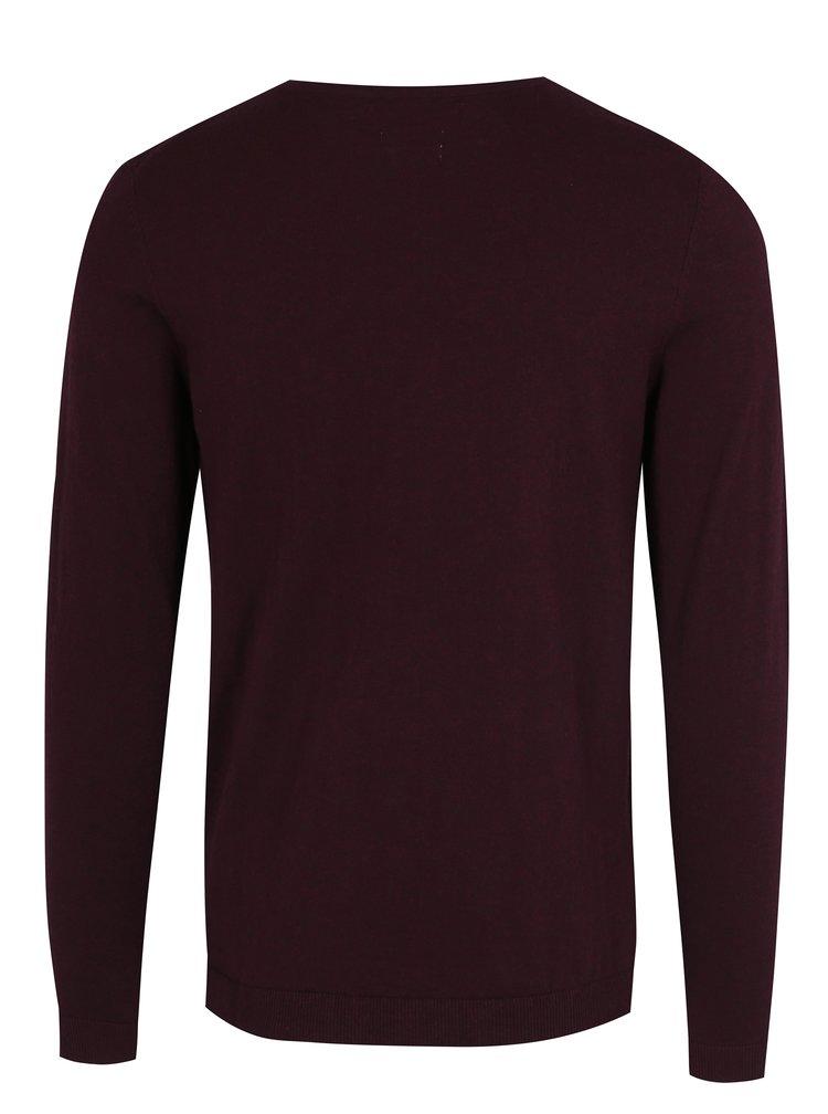 Vínový tenký sveter s véčkovým výstrihom Jack & Jones Luke Premium