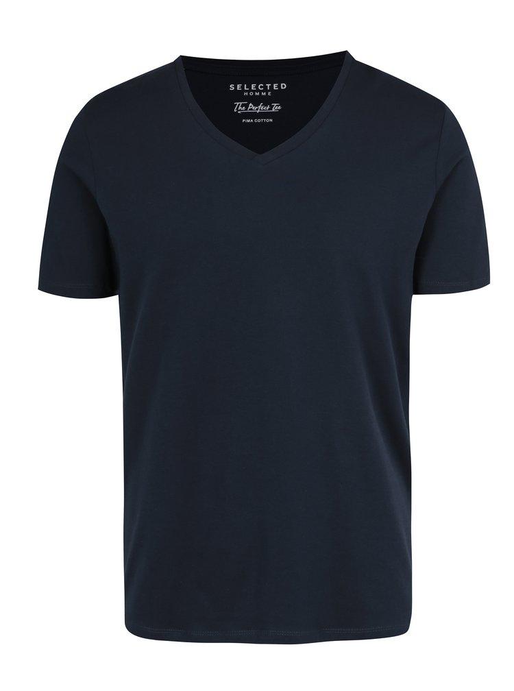Tmavě modré tričko s véčkovým výstřihem Selected Homme