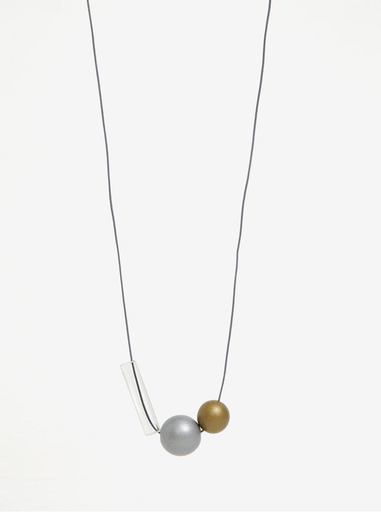Colier handmade cu margele din lemn si pandantiv tubular din sticla - KO-RA-LE Ball