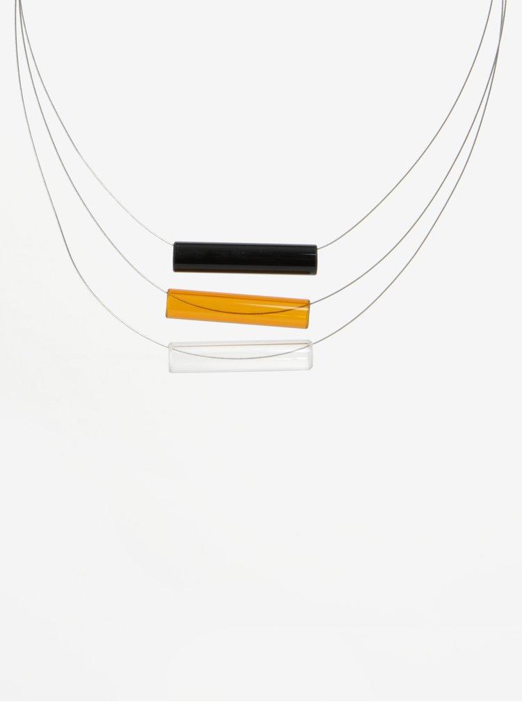 Černo-oranžový skleněný náhrdelník KO-RA-LE Tri