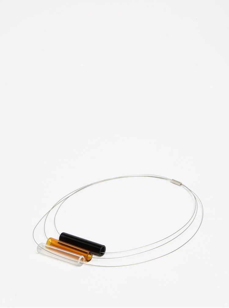 Colier handmade cu pandantive tubulare oranj din sticla - KO-RA-LE Tri