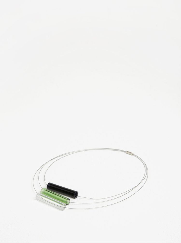 Černo-zelený skleněný náhrdelník KO-RA-LE Tri