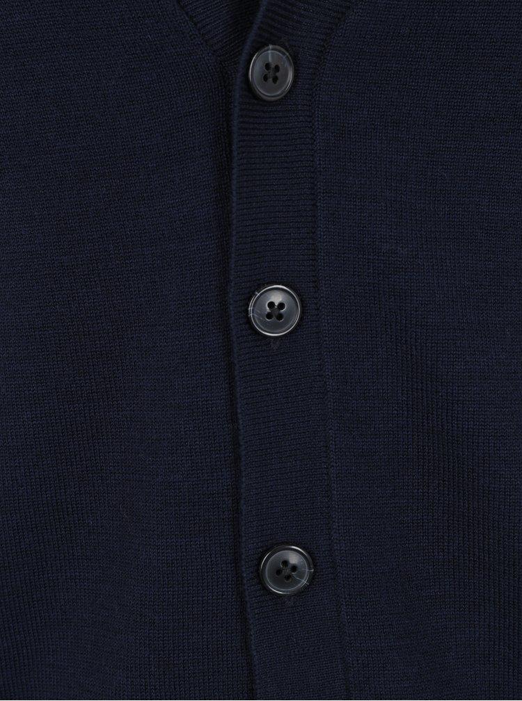 Tmavě modrý vlněný kardigan Selected Homme Ed