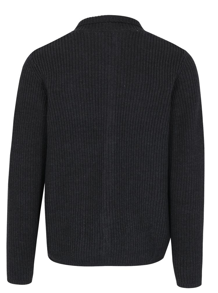 Cardigan gri inchis cu buzunare Selected Homme Ray