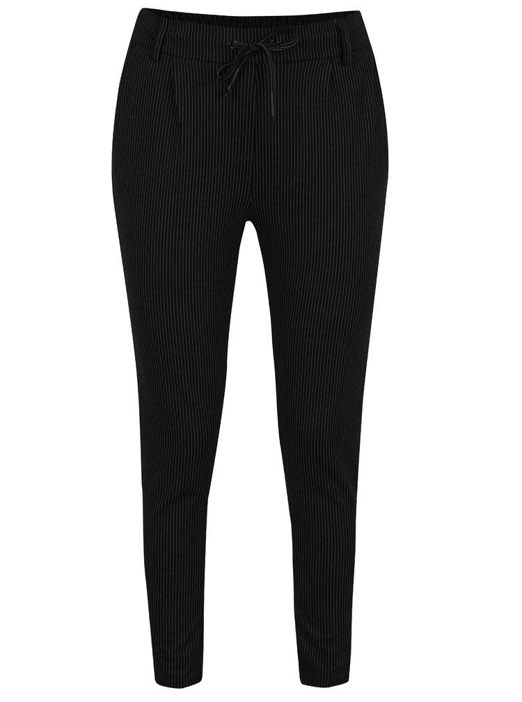Pantaloni negri cu dungi fine si talie inalta - Haily´s Jil