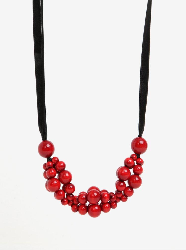 Černo-červený dřevěný náhrdelník KO-RA-LE Wav