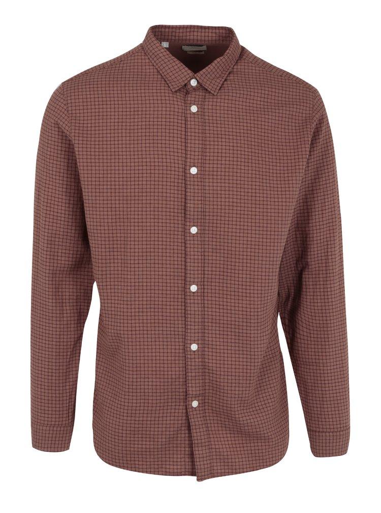 Hnědá kostkovaná slim fit košile Selected Homme One Paw