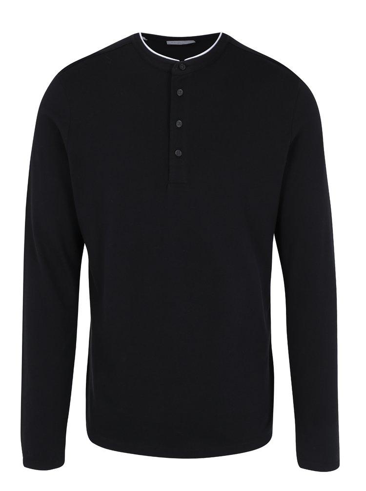Černé polo tričko s dlouhým rukávem Selected Homme Edan