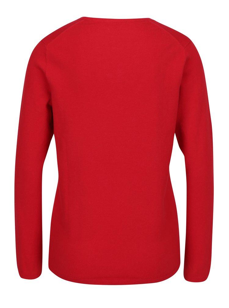 Červený dámský svetr s véčkovým výstřihem Tommy Hilfiger New Ivy