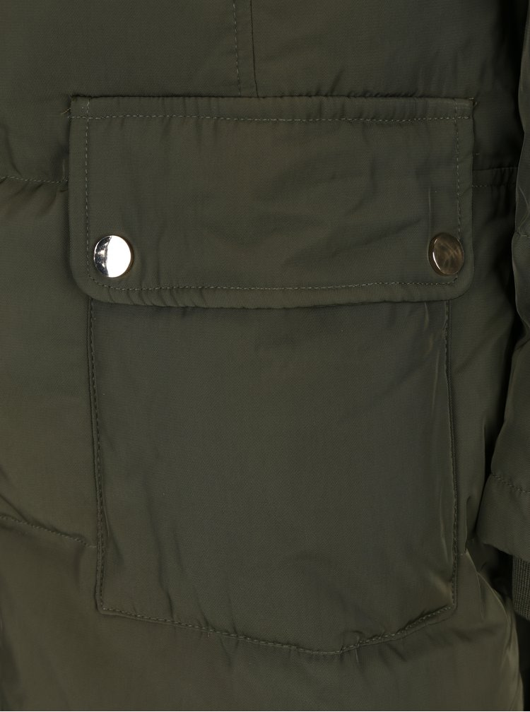 Zelený prošívaný péřový kabát s umělým kožíškem VILA California