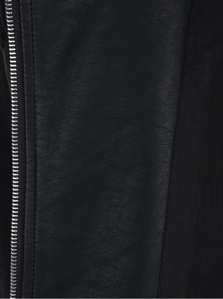 Černý koženkový křivák VILA Cara