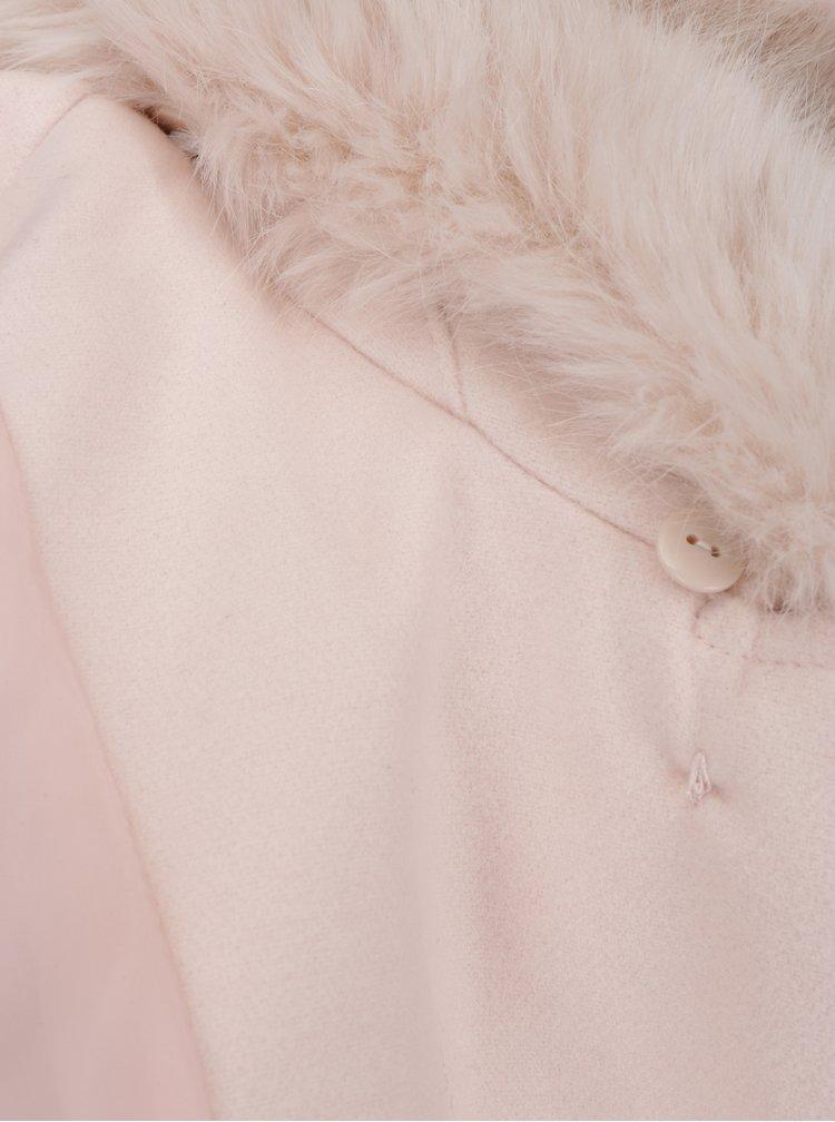 Krémový kabát s knoflíky a kožíškem Miss Selfridge