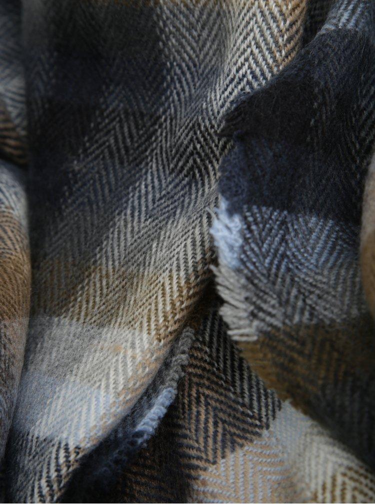 Hnědo-modrá pánská kostkovaná šála s.Oliver