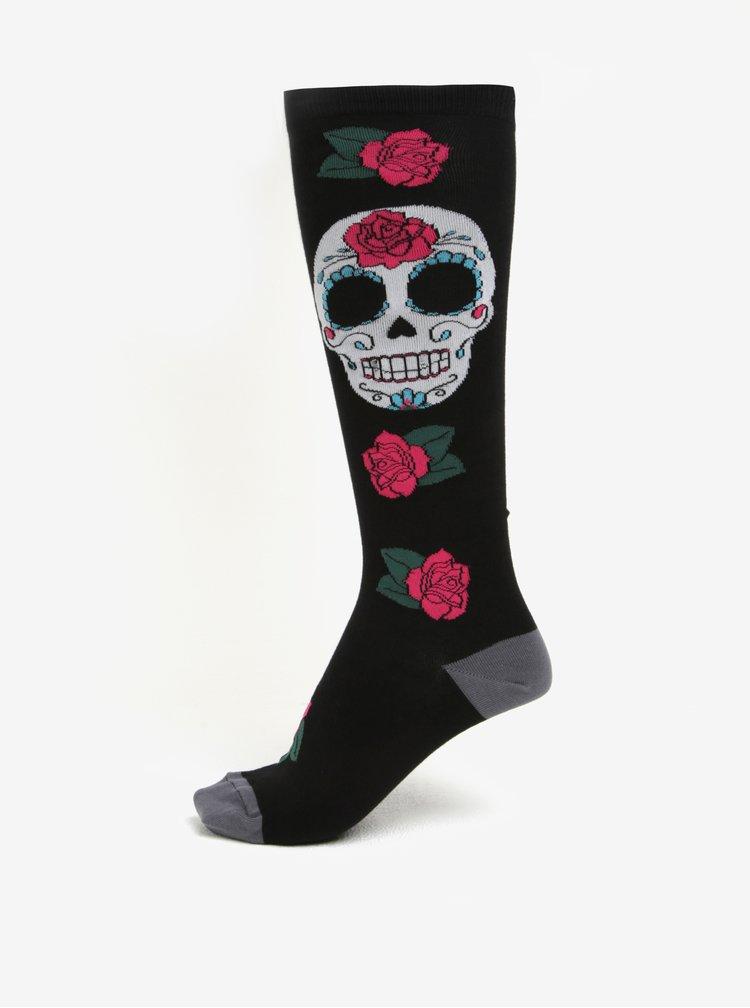 Čierne dámske vzorované podkolienky Sock It to Me Sugar skull