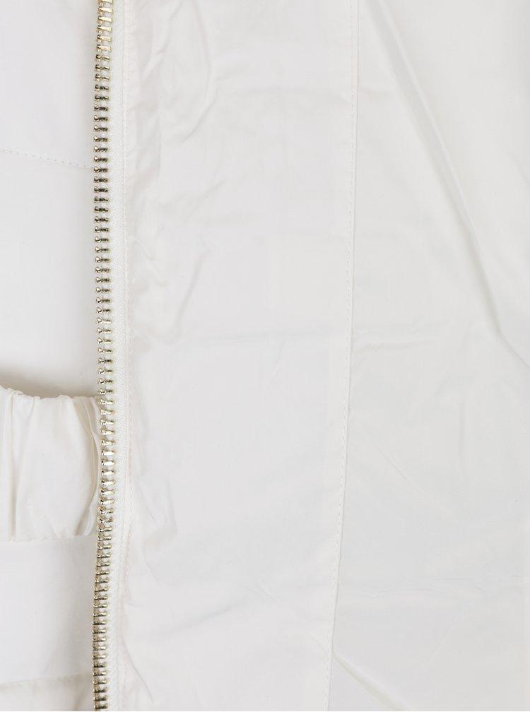 Krémová prošívaná bunda s umělým kožíškem Miss Selfridge