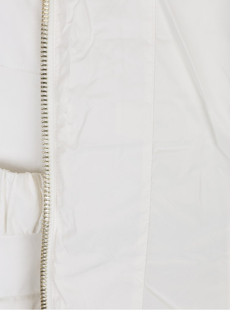 Geaca matlasata crem cu blana artificiala si talie elastica  Miss Selfridge