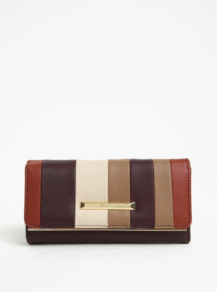 Vínová pruhovaná peňaženka Gionni Madolen
