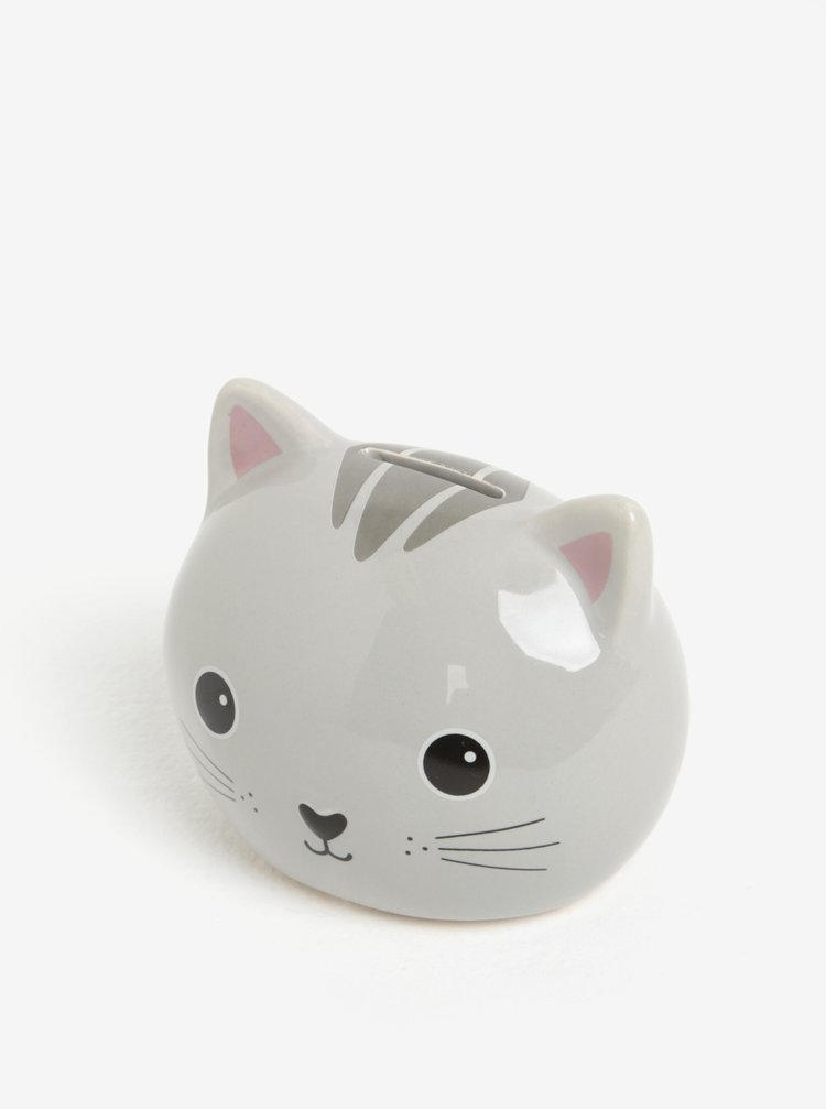 Šedá kasička ve tvaru kočky Sass & Belle